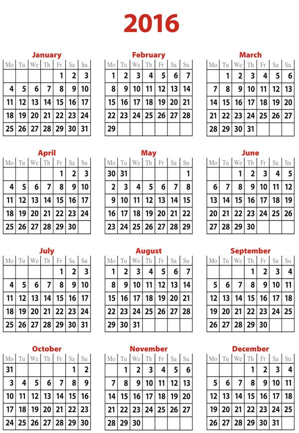 Free 2016 calendar template