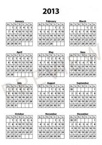 Free calendar template 2013 preview